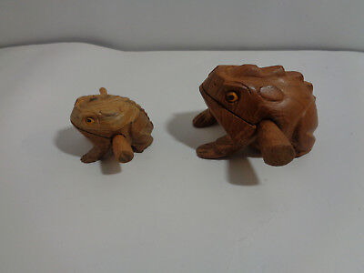 (Lot of 2) Large & Small Hand-Carved-Wooden-Croaking-Frog-Makes Percussion Sound