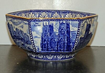 Wade Ringtons Tea  Cathedrals Blue & White Hexagonal Bowl 6.75 inches across