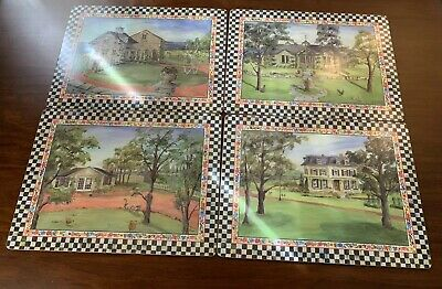 Mackenzie Childs Courtly Check Cork Back Placemats Discontinued Set of 4