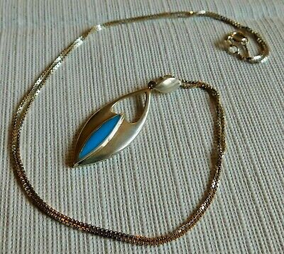 Awesome! Vintage Turquoise & Sterling Silver Modernist Pendant & Large Chain !