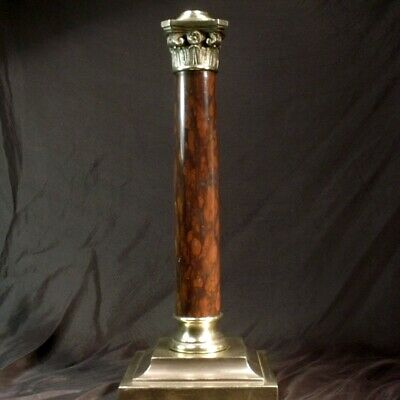 ANTIQUE OIL LAMP COLUMN IN ROSE MARBLE & BRONZE, HINKS MESSENGERS fit quality