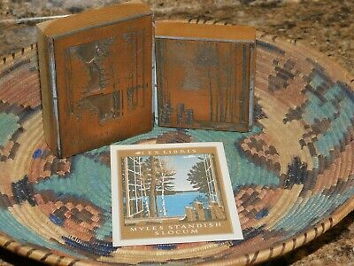 Antique Ex Libris Myles Standish Slocum Bookplate & Original Printing Blocks MSS
