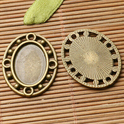 2pcs antiqued bronze color Single-side oval cabochon setting in 13x18mm EF2957