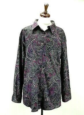 fc13188ea57196 Chaps Womens Plus Size 3X Top Purple Red Paisley Shirt Blouse No Iron  Career Top