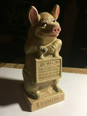 """Antique Hubley Cast IronStill Bank """"thrifty The Wise Pig"""" 1930-1936"""
