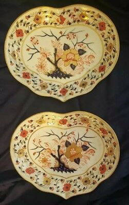 """2 plate lot of 19th Century Derby Porcelain Old Japan Salad Plate 9 3/4"""" x 8"""""""