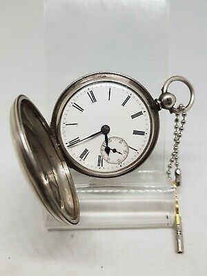 Antique solid silver full hunter gents fusee London pocket watch W/O 1873 ref382