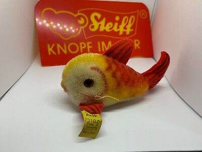 Steiff Tier Flossy Fisch rot FISH red, Knopf, Fahne 2310,01 sehr guter Zustand