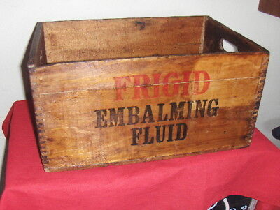Rare Antique FRIGID Vintage Embalming Fluid Handled Dovetail Wooden Crate/Box