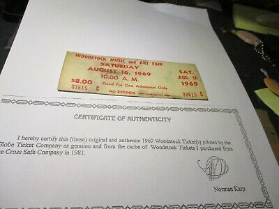 ORIGINAL WOODSTOCK TICKET August 16, 1969 Saturday (2nd day) Peace Love  B57