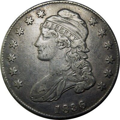 1836 50c Capped Bust Half Dollar BEADED REVERSE O-106a rare old type coin CS112