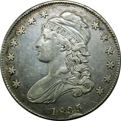 1835 50c Capped Bust Silver Half Dollar O-108 R.3 rare old type coin money CS6