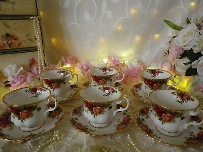 """Vintage Royal Albert """"old Country Roses"""" 6 Duos, 1St Quality, Good Condtion"""