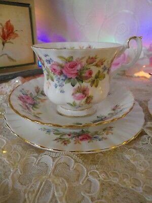 Vintage Royal Albert Moss Rose  Trio, 1St Quality,  Very Good Condition