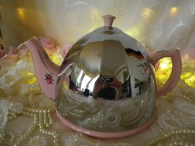 Vintage Insulated 1.5 Pint Teapot, Pink Floral, Chrome Bright & Shiny, Good Cond