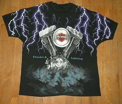 Vtg 1990s Harley-Davidson Thunder & Lightning T-Shirt All-Over Print Size XL