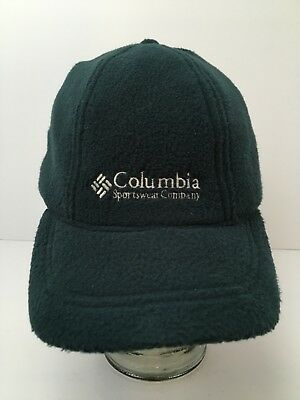 Vintage Columbia Fleece Hat With Ear Flaps Winter USA Made Green Adjustable 9c69d9a66d6c