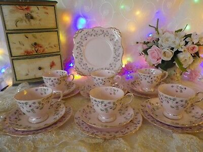 Vintage Tuscan 19 Piece Tea Set, Baby Pink & Floral, Very Good Condition