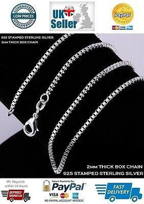 """Box Sterling Silver Necklace Chain Length 16"""" 18"""" 20"""" Inches 2mm Thick"""