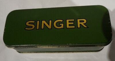 Green Vintage Singer Sewing Machine attachments/Accessories Tin/Case