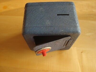 """Vintage Fort Knox Bank Working Combination Lock 6"""" Tall Metal Blue coin slot"""