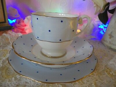 Vintage Bell China 1950's Trio, Blue Polka Dot, Good Vintage Condition
