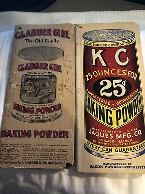 """Lot of 2 Vintage """"Want Books"""" Clabber Girl & KC Baking Powder Grocer Note Book"""