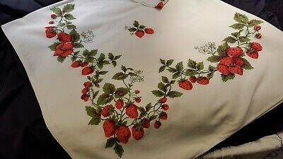 Vintage tablecloth, soft cotton, bright strawberries, MINT