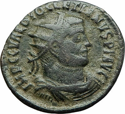 DIOCLETIAN 295AD Heraclea Authentic Ancient Roman Coin JUPITER VICTORY i75858