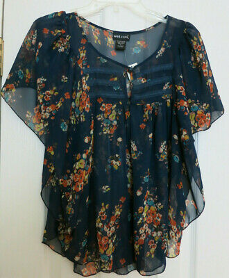 NWT Wet Seal Floral Sheer Navy Lace Trim Flare Sleeve Size  L $24.50