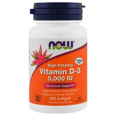 NOW FOODS VITAMIN D-3 5000 IU 240 Softgels Supports Immune System, Strong Bones