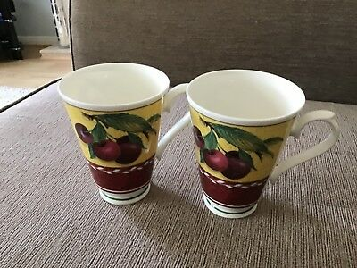 Two Roy Kirkham Burgundy Fruit Mugs
