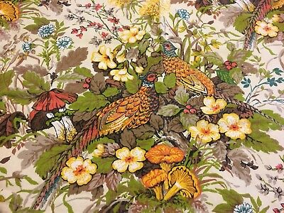 "Vtg Retro Barkcloth? Fabric Drapery Panel Curtain 46 x 36"" Pheasants Mushrooms"