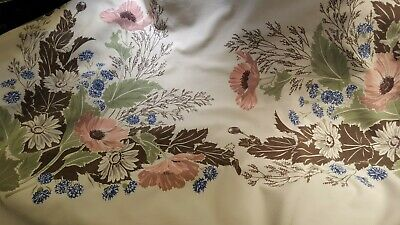 Vintage tablecloth, cotton, California Hand Print, pink poppies