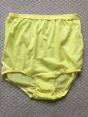 Vtg 50s 60s Granny Panties Approx Sz 5 M No Tag Yellow Nylon Double Gusset