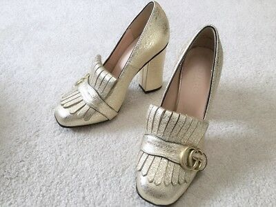 3bd10b6dae8 Gucci Current Marmont GG Metallic Leather Pumps size 37 US size 6 or 6.5