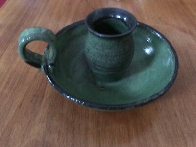 Green Studio Pottery Candle Holder Mablethorpe Pottery