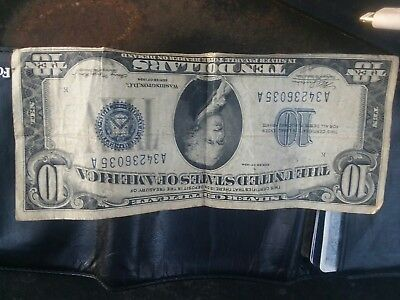 1934 Ten Dollar $10 Bill BLUE Seal SILVER CERTIFICATE A01442172A Old US Currency