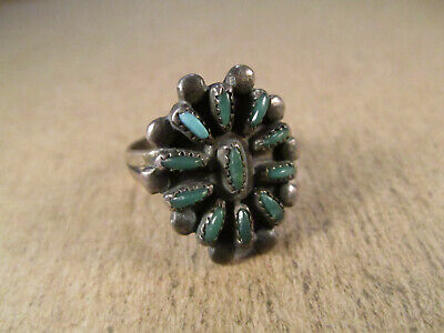 Old Pawn Sterling Silver & Turquoise Ring, Unsigned, Size 5.25, 3.8g