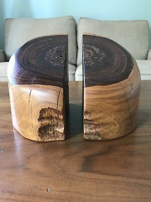 Vintage Mexican Mid Century Modern Don Shoemaker Cocobolo Wood Bookends Senal