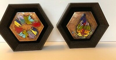 Vintage Pair Mid Century Modern Flame Painted Copper 3D Wall Art Israel 1950-60
