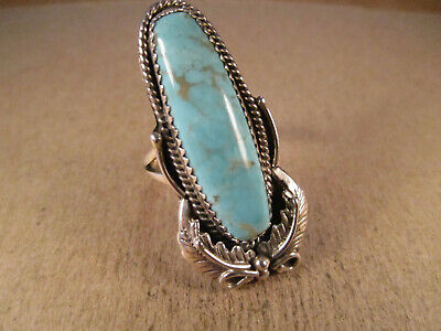 Lovely Sterling Silver & Turquoise Ring, RB Running Bear, Size 7.75, 8.4g