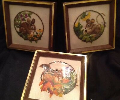 Vintage Embroidered Framed Animals - Cute Chipmunk Rabbit Mouse