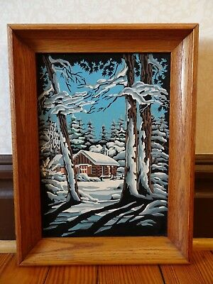 Vintage Paint by Number Snowy Log Cabin In The Woods Framed Oil Painting on Felt