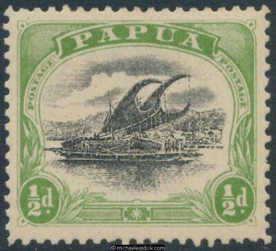 1907 Papua ½d Black & Yellow Green, Large Papua, wmk upright SG 47, MH