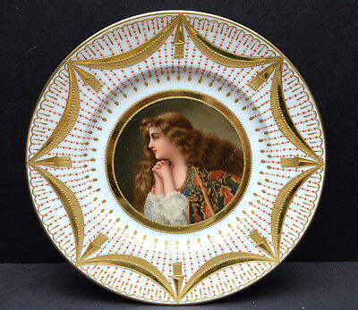 antique Royal Vienna Painted Portrait Cabinet Plate Signed Wagner raised gold