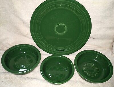Vintage 4 Piece Fiesta Ware Forest Green Plate And Bowls Fiestaware