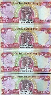 ONE HUNDRED THOUSAND DINAR - (4) 25,000 IQD Notes - AUTHENTIC - FAST DELIVERY