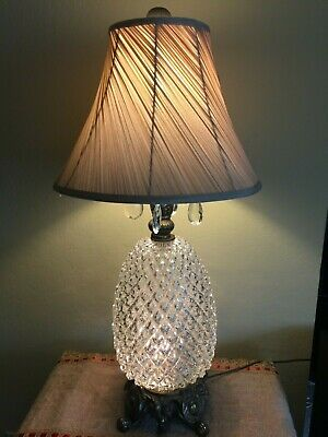 """Vintage Large Hollywood Regency Style Pineapple Glass Table Lamp, 33"""" Tall, 9"""" W"""