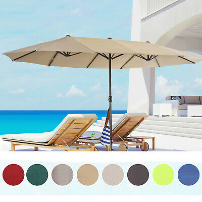 4.6M Sun Umbrella Canopy Garden Double-sided Crank Sun Shade 8 colors